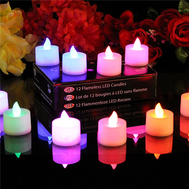12 Colour Changing Tea Lights - Battery Electric Flameless LED Mood Lighting Candles-Colorful