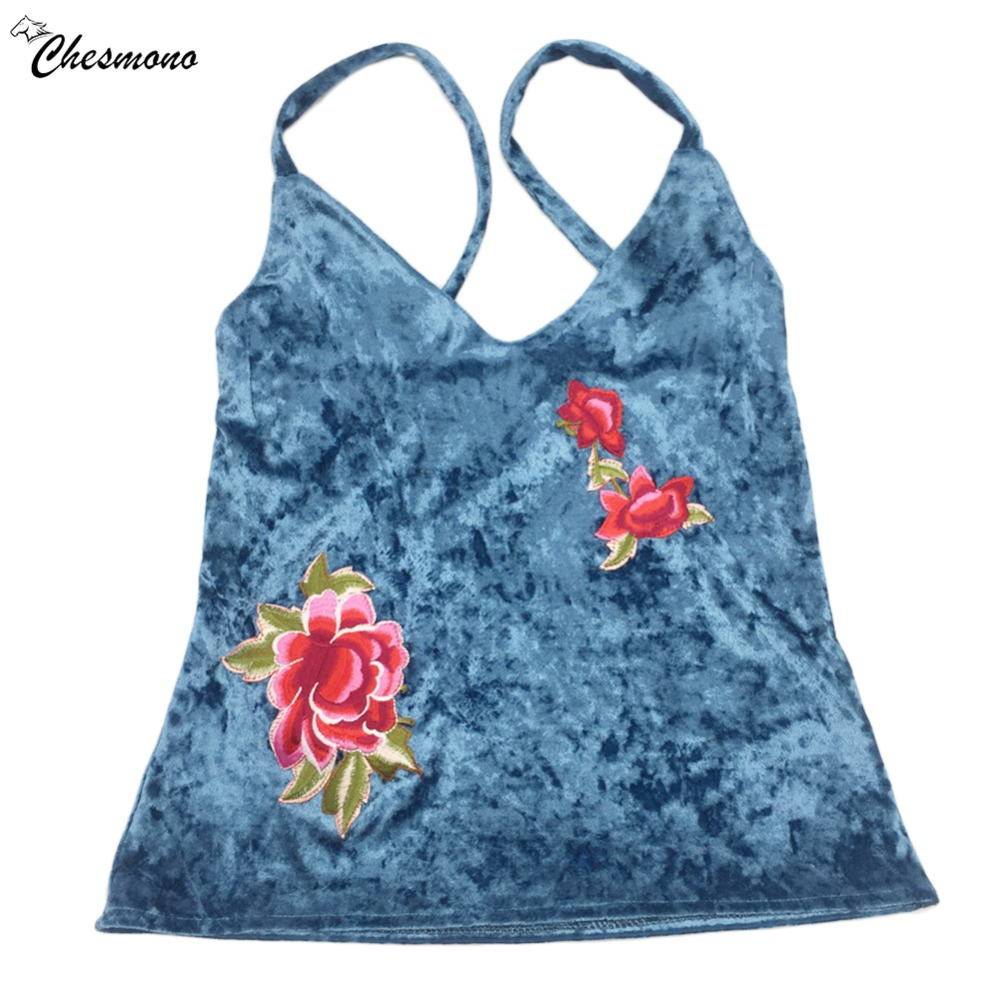 Embroidered Flower Applique Velvet Sexy Spaghetti Top Women 2018 Clothing Tee Sleeveless Laides Sexy tank Top Camisole blue