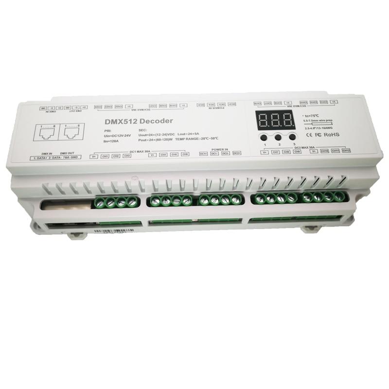 Image 4 - New Led DMX512 Decoder Constant Voltage DC12V  24V 5A*24CH output LED display DIY Setting Address RJ45 24 channels DMX decoder-in RGB Controlers from Lights & Lighting
