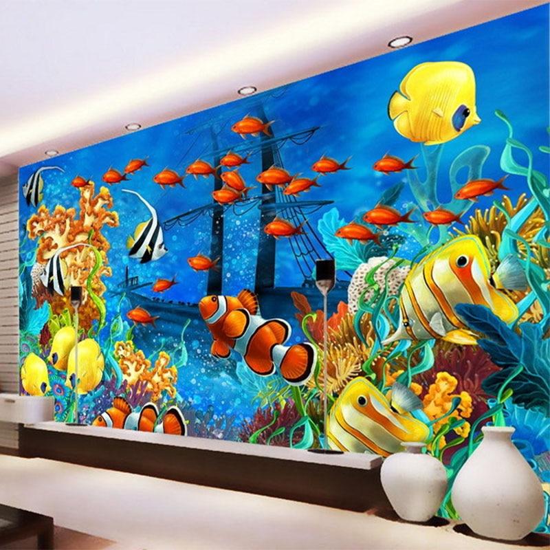 Photo Wallpaper 3D Stereo Cartoon Tropical Fish Underwater World Mural Wallpaper Custom Non-Woven Wallpaper Papel De Parede 3D