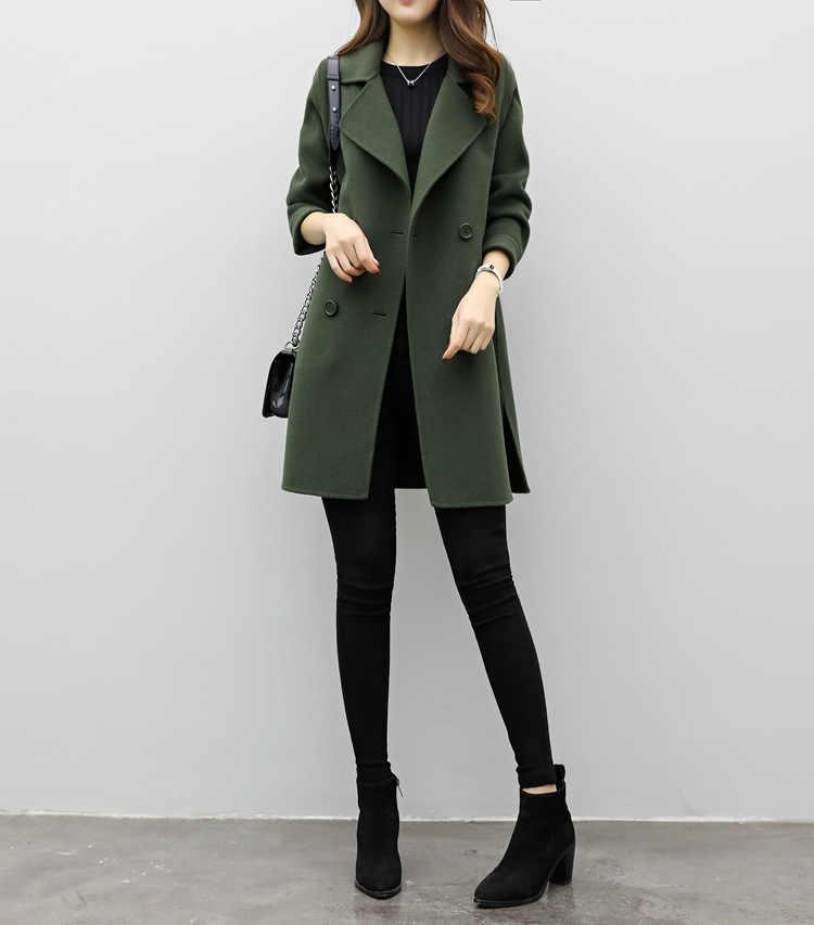 Korean Woll Mantel 2018 Herbst und Winter Frauen Kleidung Lange Lose Schlank Kokon Zweireiher Woolen Mantel Trend mantel frauen