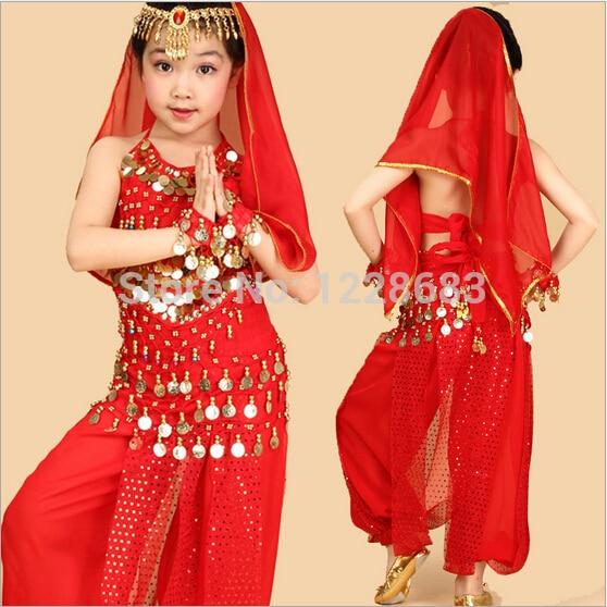 9ffc1ad09 Criança Meninas Rosa Azul Amarelo Vermelho Oriental Dança Vestido de Dança  Do Ventre Roupas de Dança Do Ventre Desgaste Dança Do Ventre Top   Calças  Para ...