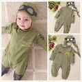 2 Pcs Verão Crianças Do Bebê Do Outono Menino Infantil Piloto Letra Impressa Algodão Romper + Cap Macacão Outfits Set Roupa 6-24 M