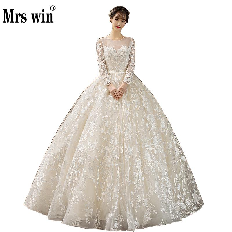 2019 New Robe De Mariee Mrs Win Floral Applique Full Sleeve Lace Embroidery Ball Gown Elegant