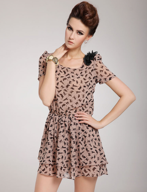 Sexy Black Animal Print Dresses Slim Casual Cat Dress Flower Women Summer  Dress Of Chiffon 0a13708ba
