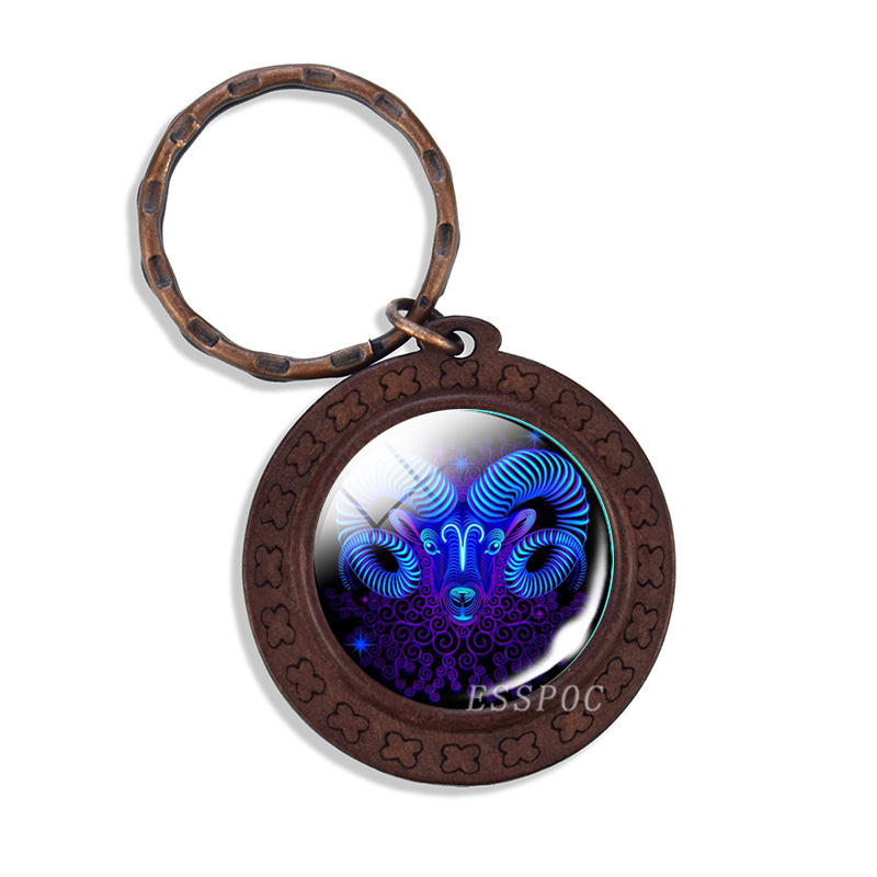 Vintage Wooden Zodiac Sign Keychain Aries Taurus Gemini Leo Libra Scorpio Constellation Key Chain Keyring Key Holder Gifts