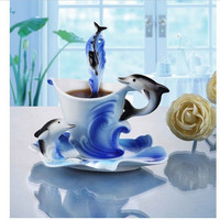 Exquisite Ceramic Cup Set Dolphin Pattern Porcelain Coffee Mug With Dish And Spoon Blue Pink