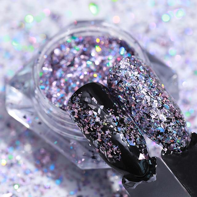 LEMOOC 1g Holo Laser Flakes Shiny Nail Sequins  Glitter Powder Paillette 3D Nail Art Decoration DIY