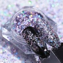 LEMOOC poudre à paillettes scintillantes pour les ongles, Laser holographique, 1g 3D, décoration bricolage