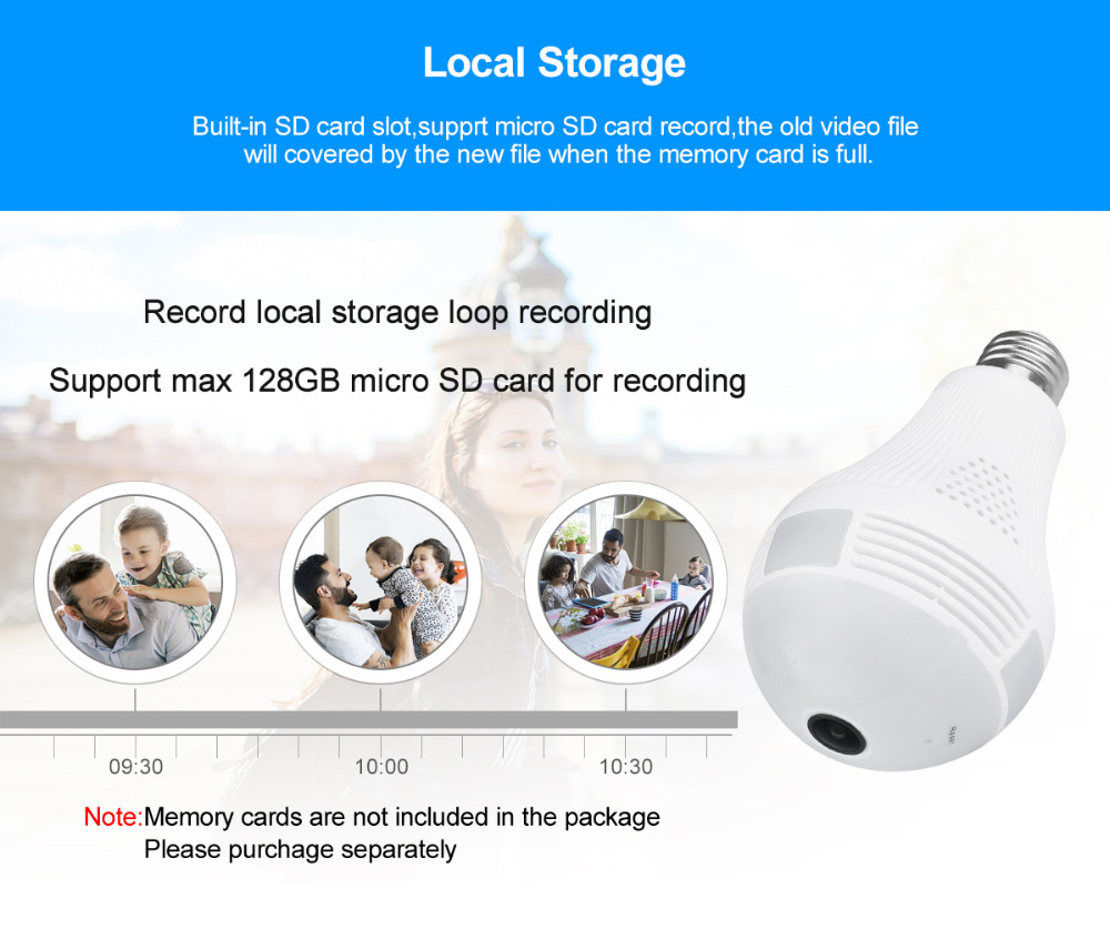 LED Bulb Light Wifi IP Camera HD 1080P Night Vision Fisheye