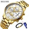 BELUSHI хронограф мужские часы из нержавеющей стали с большим циферблатом золотые часы мужские деловые кварцевые часы Erkek Kol Saati 2019