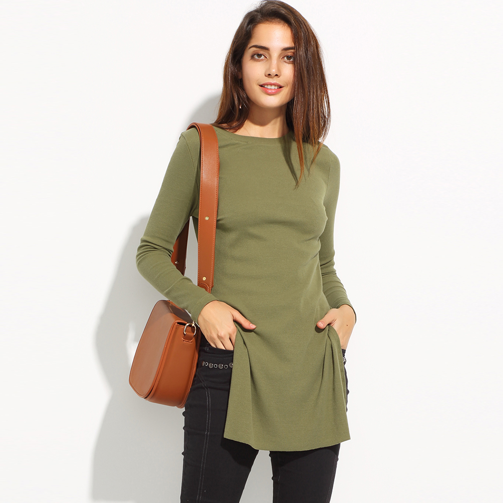32bbf57d5a621 MY MAYAASOS 2017 Elegant Long T Shirts Women Side Split Long Sleeve High  Quality Tops Sexy Casual Army Green Tshirt T shirts New-in T-Shirts from  Women's ...