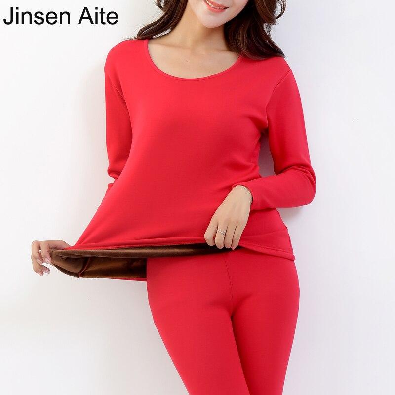 Jinsen Aite Cotton Plus Size XXL-5XL Warm Thick Fleece Women's Long Johns Sets Casual Solid Winter Femme Thermal Underwear JS640