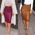 2016 Autumn and Winter PU Skirts for Women High Quality Velvet Inside Hip Package High Waist Skirt Lady Casual Skirts