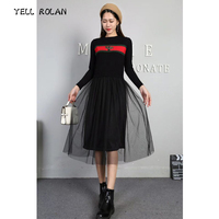 YELL ROLAN 2018 New Women Net Yarn Patchwork Sweater Dress Maxi Long Red Pullover Dresses Spring