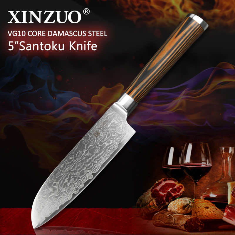 XINZUO 5 Santoku Knife 73 Layers Japan Damascus Kitchen Knife Japanese VG10 Chef Knife With Color