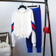 European style casual hooded sweaters+knitting pants Women's sweat suit spring autumn knitted  leisure suit  A106