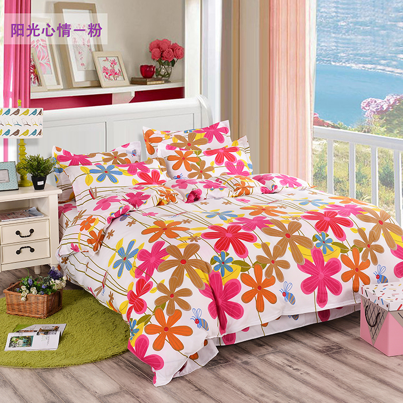 Hot Sale full queen king Korean style bed sheet+duvet cover+pillowcase pink bed cover bed sets linen housse de couette adulte