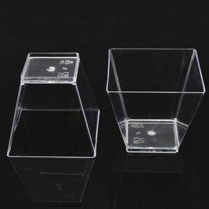 Image 5 - 50 قطعة 2 أوقية/60 مللي مربع صغير الحلوى كوب مكعب البلاستيك عينة طبق كعكة هلام بودنغ أكواب حفلة اكسسوارات المطبخ