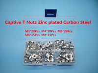 80pcs Carbon Steel Tee Nuts M3 M4 M5 M6 M8 Four Pronged T Nuts Blind Inserts