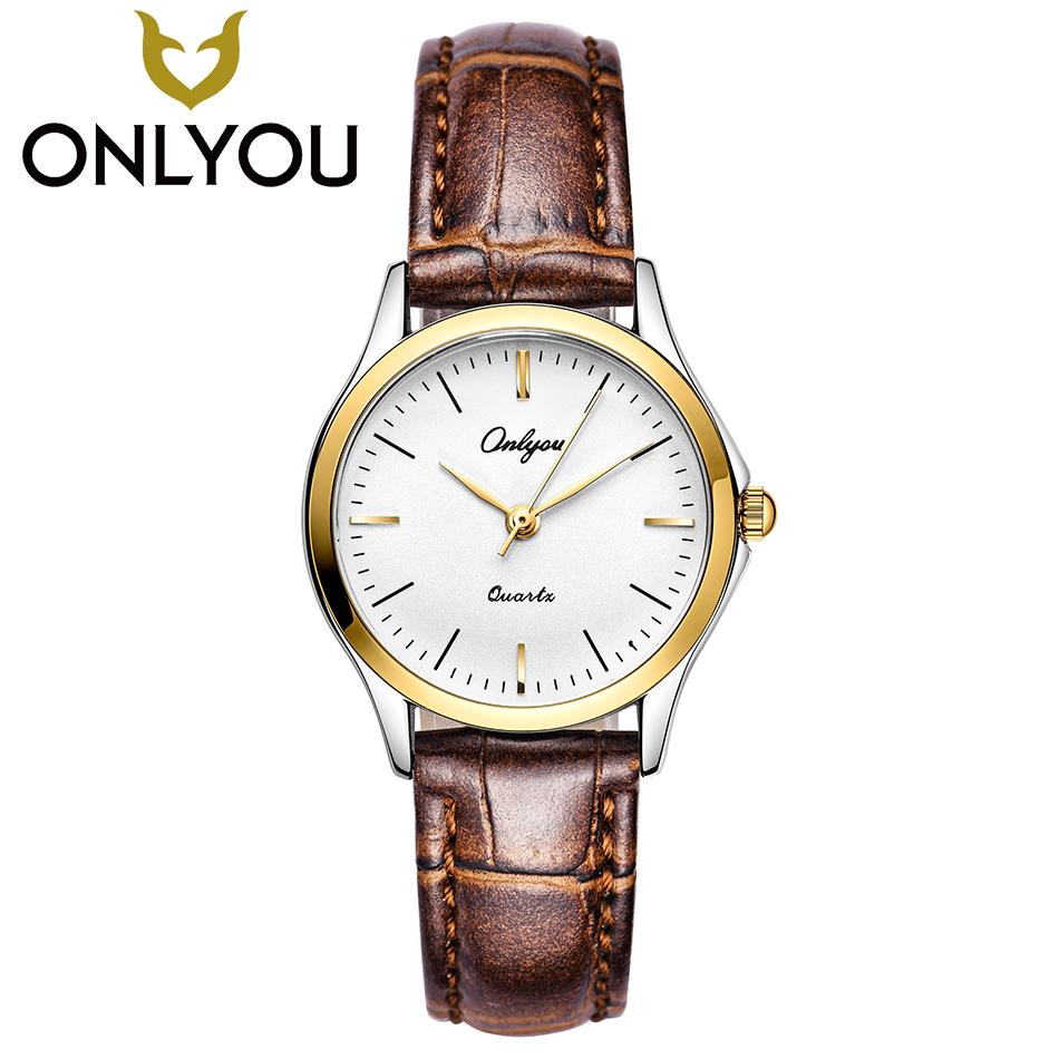 ONLYOU Women Fashion Watches Top Brand Ladies Wristwatch Casual Men Leather Quartz Clock Female Gold Simple Waterproof Watch