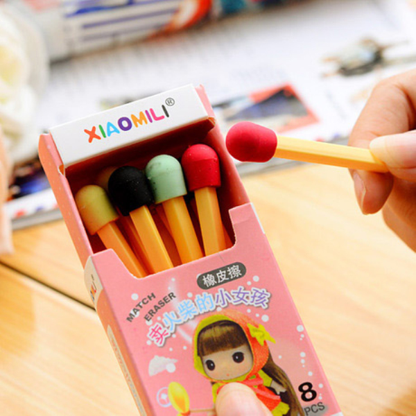MQStyle 8Pcs/Lot Cute Kawaii Matches Eraser Lovely Colored Eraser For Kids Students Creative Item Gift H1293