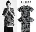 KTZ футболка хип-хоп RHUDE л. а. Бандана западном стиле пейсли футболки тис мужчины женщины топы кешью пейз коротким рукавом crewneck