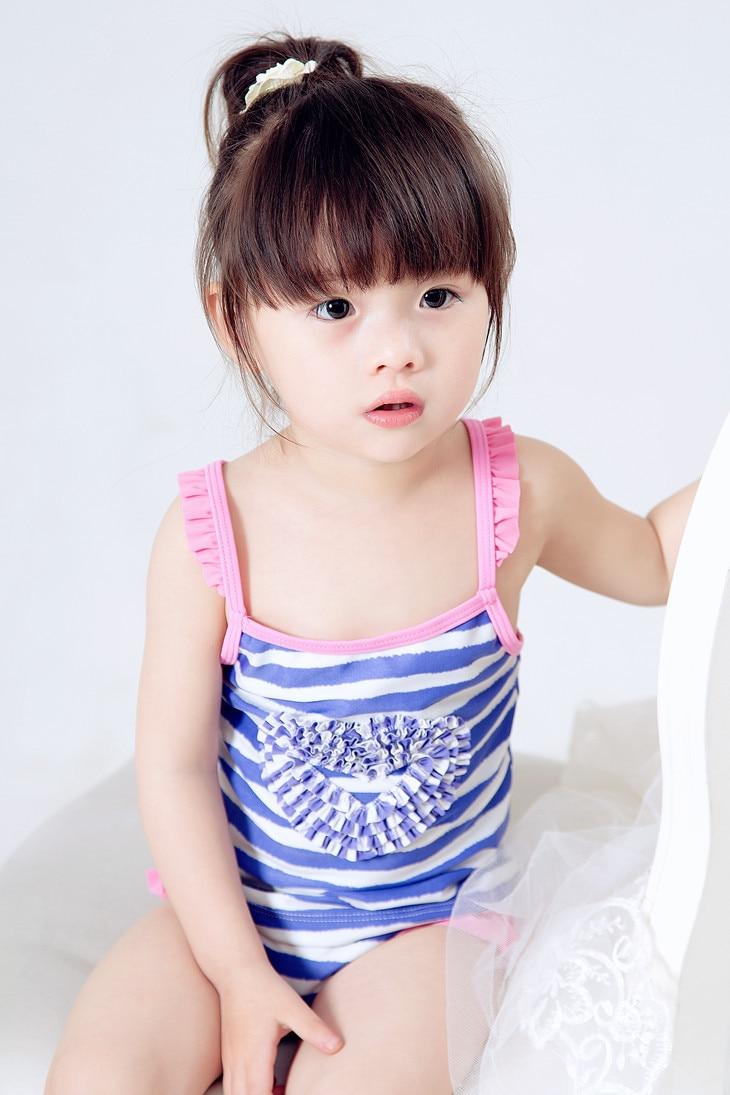 retail cute children's swimsuit girls stripe bikini baby girl