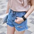 Verão mulheres moda casual new buraco Rebarba shorts jeans feminino Coreano mulheres casual shorts meninas estudantes