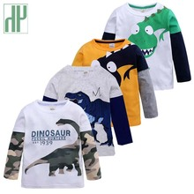 цена на Baby Boys long sleeve tops dinosaur shirt animal print Children Kids Boys Tops Tees T Shirt Spring Autumn cotton toddler tshirt