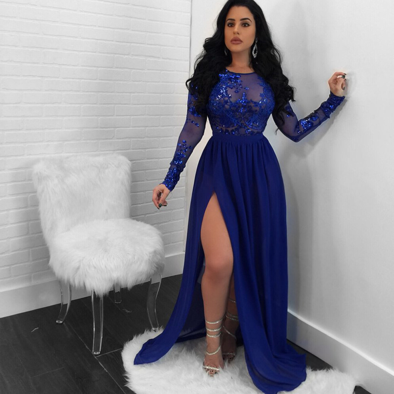 2018 nuevo estilo brillante azul claro Lentejuelas alta slit long Maxi vestido sexy backless evening party Maxi Vestidos vestido de festa