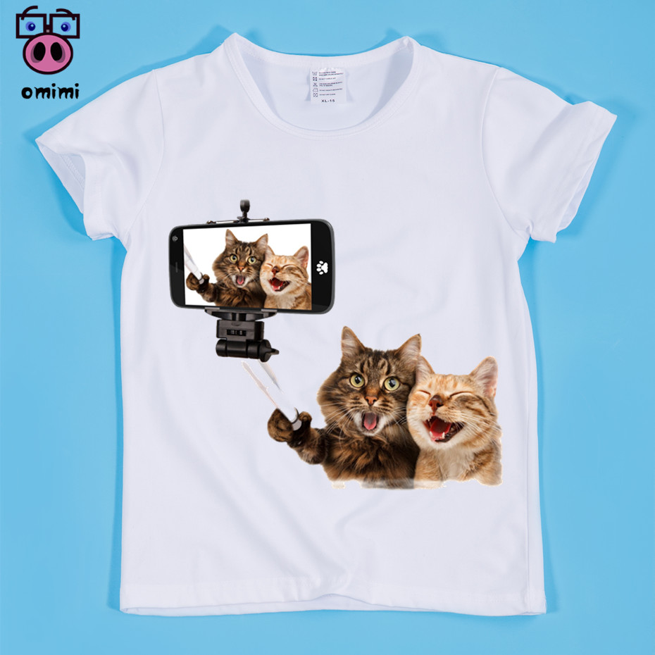 Ready Stock,Size(90-160cm) Childrens Cute Design Cate And Dog Take Photos Print T-shirts Boy and Girl Funny Tops Tee ...