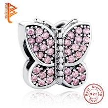 Exquisito Plata Esterlina 925 Sparkling Pink Crystal Butterfly Animal Grano Del Encanto Fit Pandora Serpiente Pulsera de Cadena de La Joyería