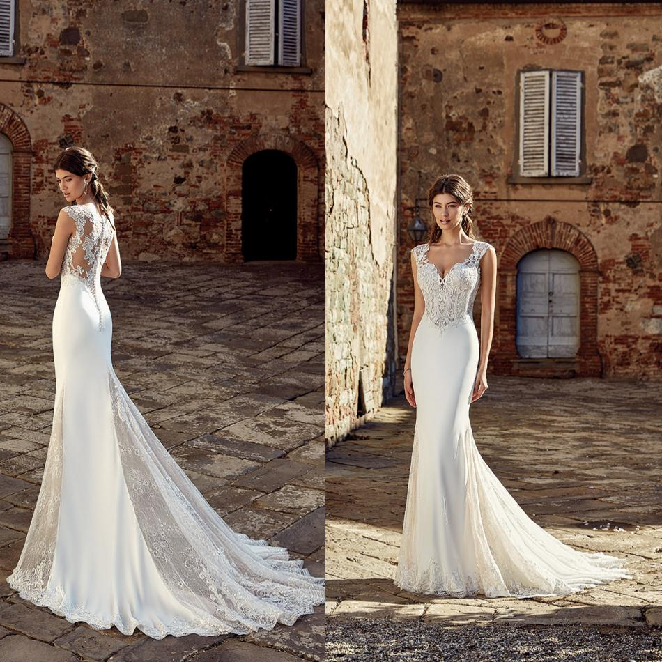 2019 New Wedding Dresses Illusion Bodice V Neck Sleeveless Lace Appliques Garden Bridal Gowns Sweep Train A Line Wedding Dress