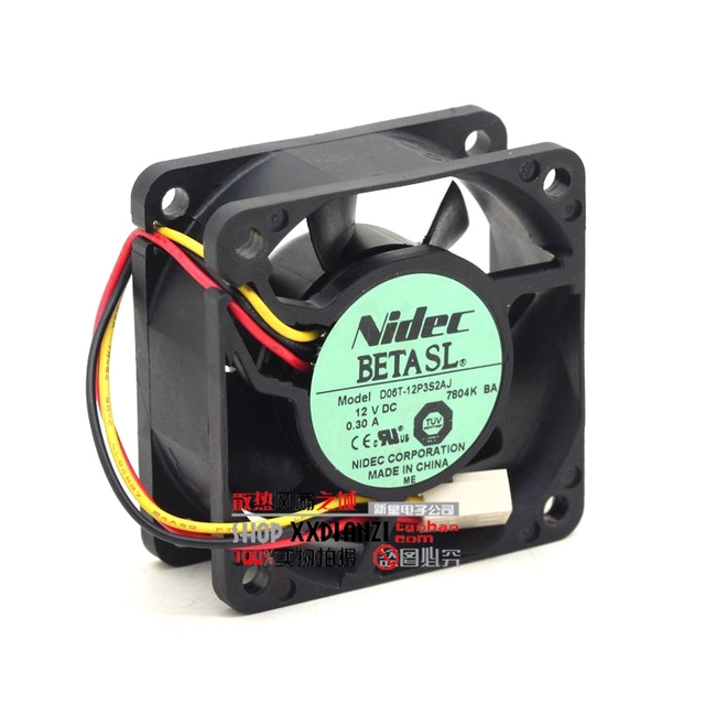 AJ D06T-12P3S2 6025 0.3A three wire speed ball cooling fan