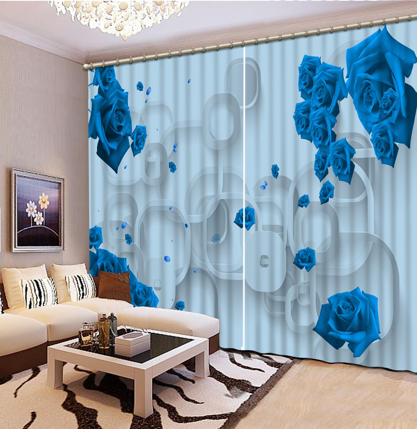 Modern Kitchen Curtain Customize 3D Curtains For Living Room Circle Flower Window Curtain Children Room