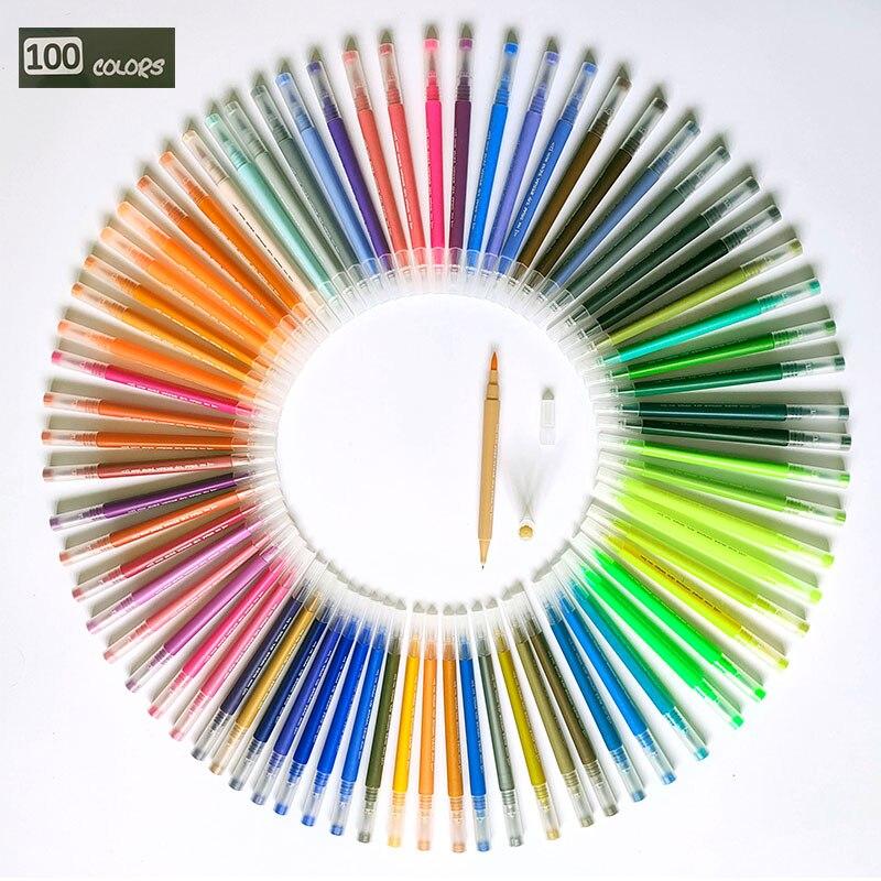 100 farben FineLiner Zeichnung Malerei Aquarell Kunst Marker Stifte Dual Tip Pinsel Stifte Für Färbung Bücher Kalligraphie Schriftzug
