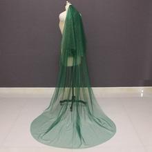 Köpüklü yeşil düğün duvağı altın toz Glitters 2T gelin peçe allık düğün aksesuarları vual Mariage