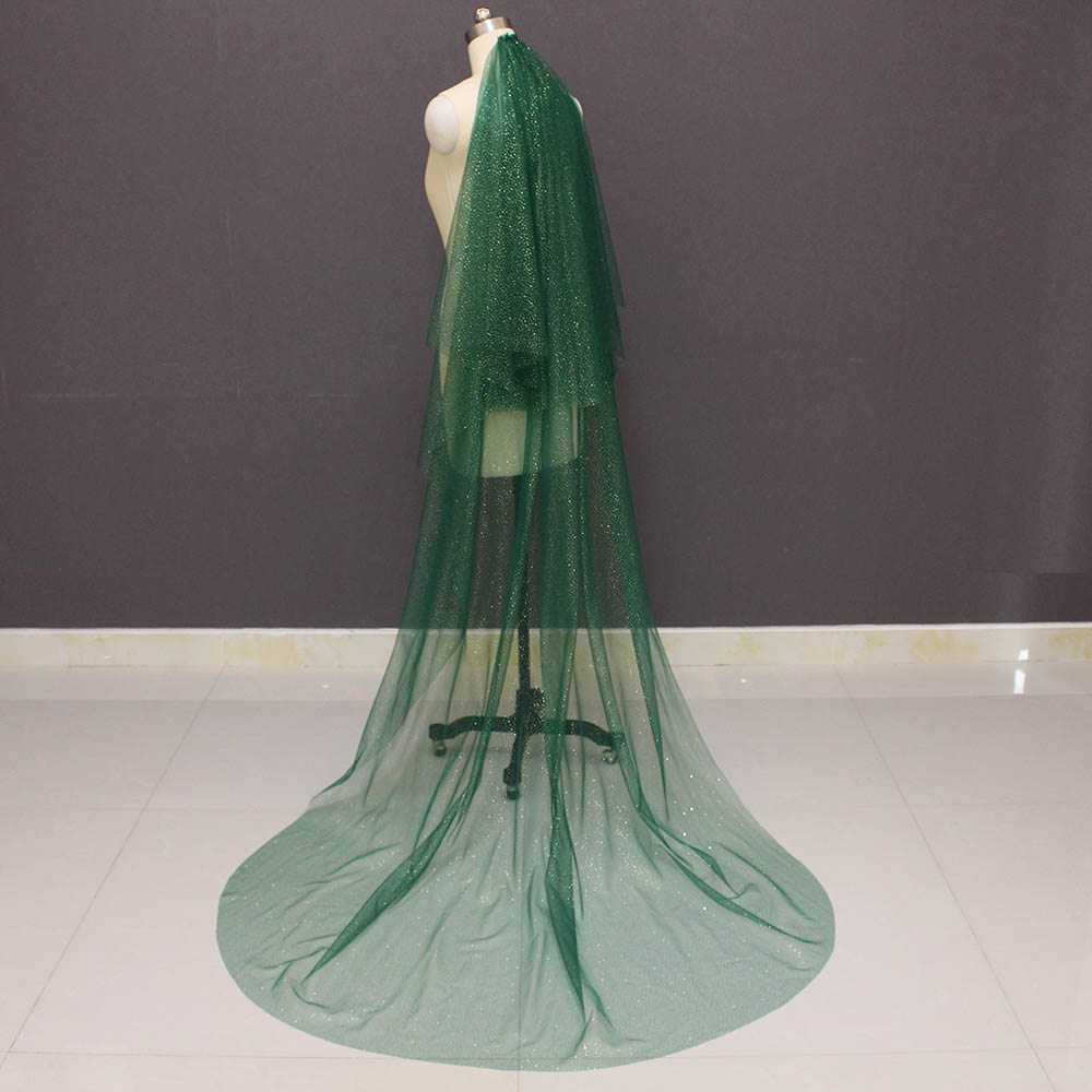 Sparkling Green Wedding Veil With Gold Dust Glitters 2T Bridal Veil With Blusher Wedding Accessories 2019 Voile Mariage