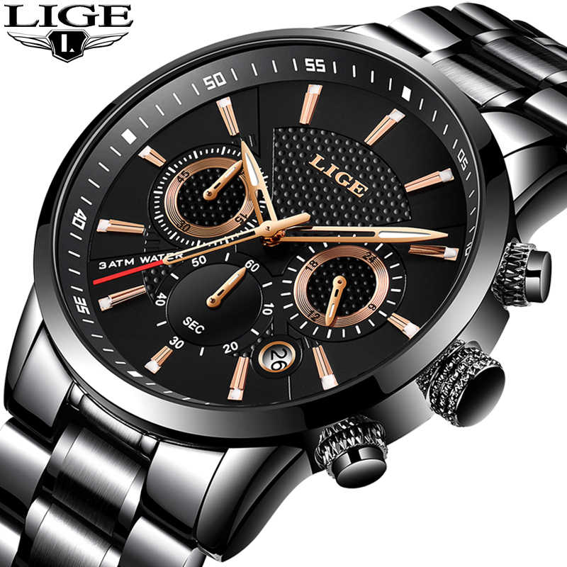 Relogio Masculino Mens Watches LIGE Top Brand Luxury Waterproof Military Sport Watch Stainless Steel Multi-Function Quartz Clock