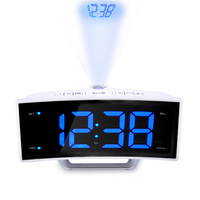 Electronic Alarm Clock Projector Watch Mirror Clock Smart Luminova Table for Office Bedroom Modern Led Digital Clock FM Radio