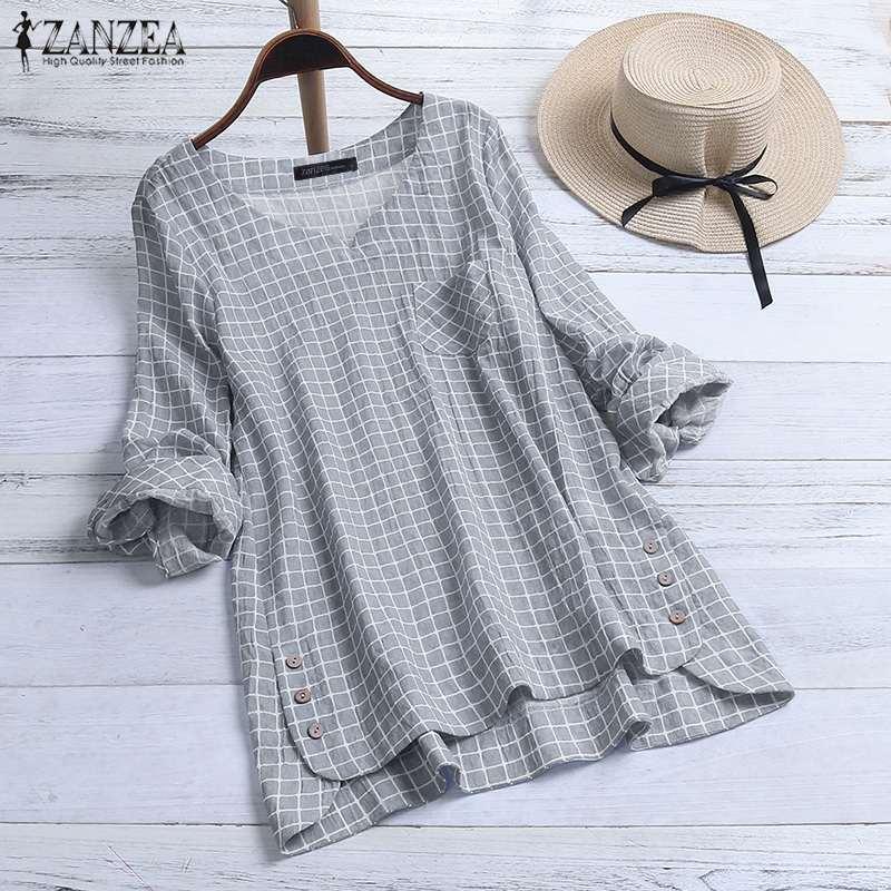 ZANZEA Women Long Sleeve Plaid Checked Blouse Spring Vintage Shirt Female Loose Work Blusas Robe Femme Chemise Casual Tunic Tops