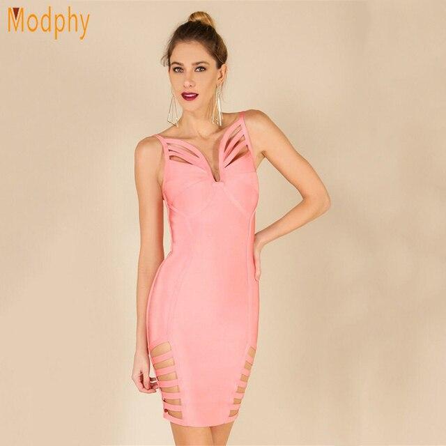 cdb2608b54 Sexy busty summer dress women party dress hollow out v-neck spaghetti strap  celebrity bodycon mini bandage dress wholesale HL750
