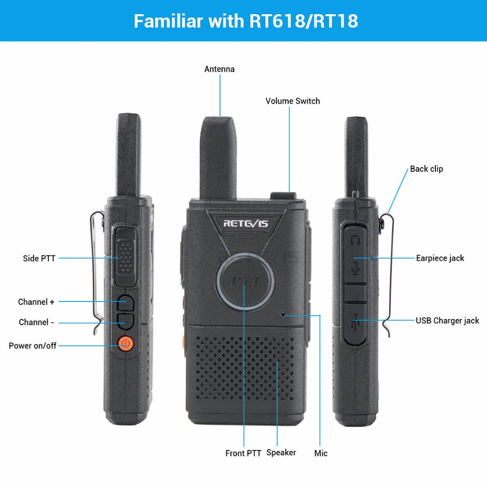 Image 2 - 2pcs Retevis RT618 Mini Walkie Talkie Radio Station Ultra thin Dual PTT Two Way Radio Portable FRS PMR446 Frequency hopping-in Walkie Talkie from Cellphones & Telecommunications