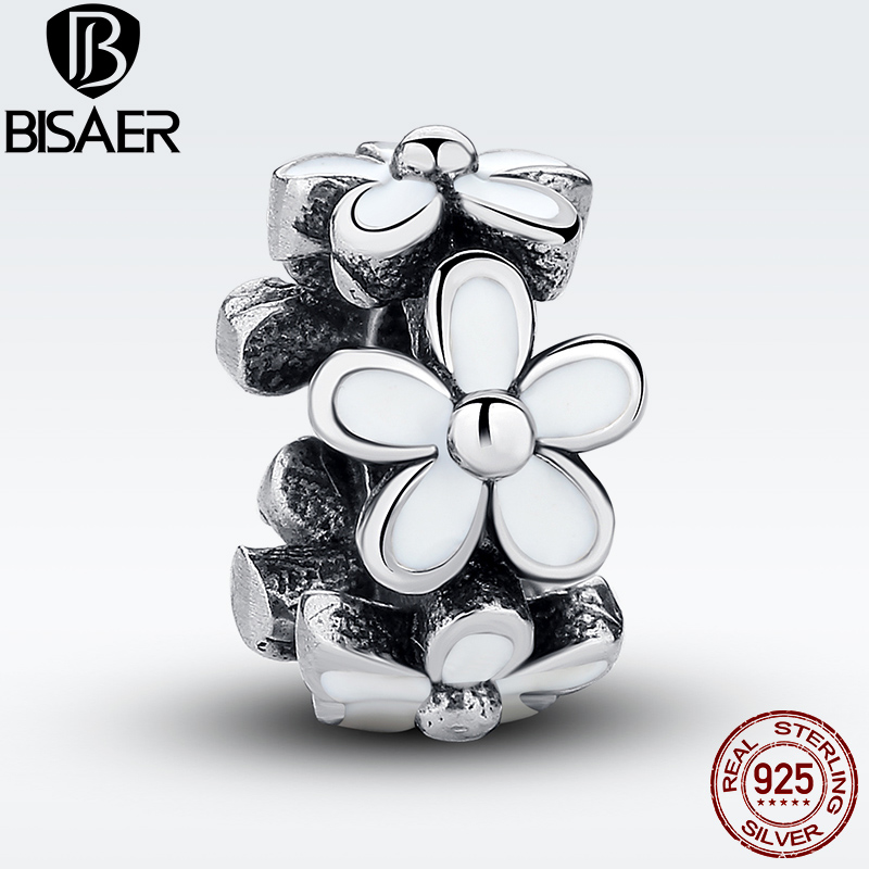 Real 925 Sterling Silver Darling Daisies Spacer White Enamel Charms Fit Bracelet Original Beads Fit for Jewelry Making WEUS144