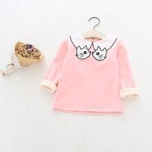 2017 New Girls Cute Cat Turn Down Collar Fleece Long-Sleeve Bottoming Shirt Kids Autumn Cartoon Solid Boluses Child Casual Tops