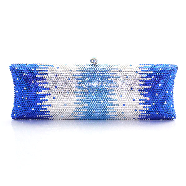 Mini New Women Luxury Flower Crystal Clutch Evening Bag Ladies Blue And Sliver Wedding Purses Dinner Party Clutches(1008-GB7 ) natassie 2018 new women clutch luxury evening bags ladies crystal wedding purses dinner party bag