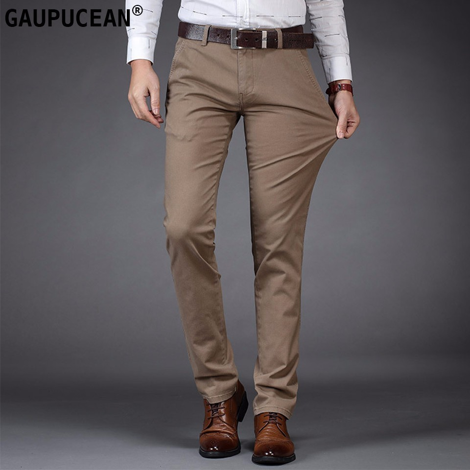 Man Chino Pants 98% Cotton 2% Spandex Pockets Formal Business Fashion Male 2018 Clothing Blue Black Khaki Men Casual Trousers