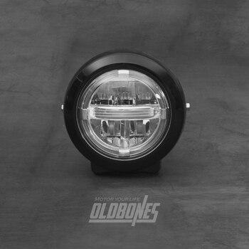 OLDBONES Cafe Racer Universal Vintage Motorcycle Headlight Driving Lamp Ring Super Bright Retro Headlamp
