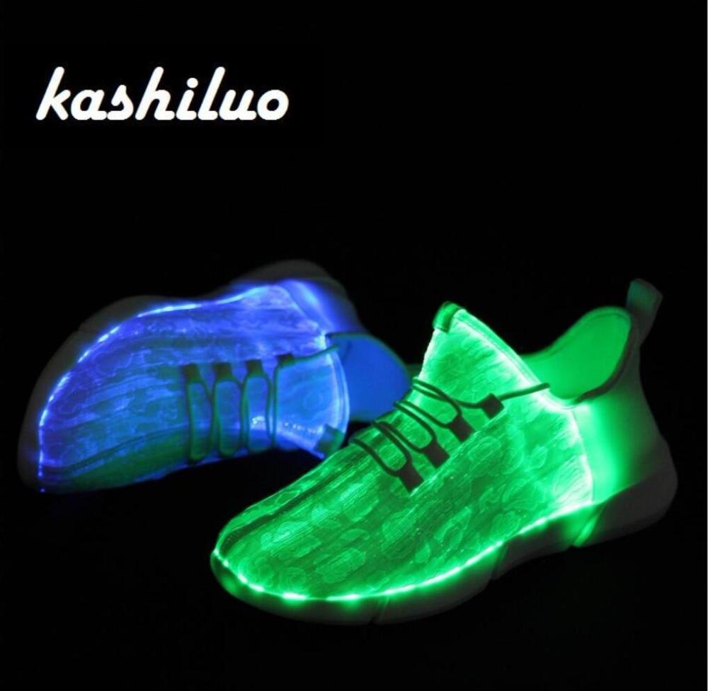 Kashiluo UE #25-46 Led zapatos USB cargable zapatillas fibra óptica blanco zapatos para niñas niños hombres mujeres zapatos de boda del partido